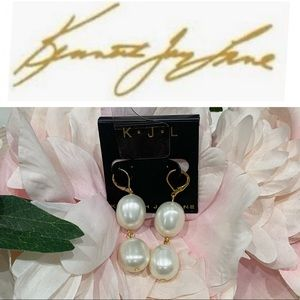 NWT Kenneth Jay Lane White Pearl Drop Earrings